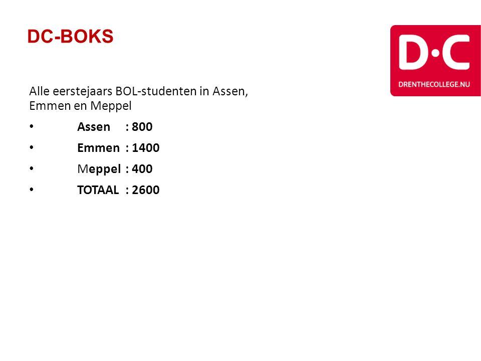 DC-BOKS Alle eerstejaars BOL-studenten in Assen, Emmen en Meppel Assen: 800 Emmen: 1400 Meppel: 400 TOTAAL: 2600