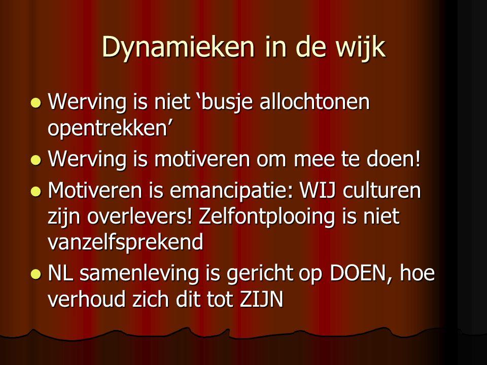 Dynamieken in de wijk Werving is niet 'busje allochtonen opentrekken' Werving is niet 'busje allochtonen opentrekken' Werving is motiveren om mee te doen.