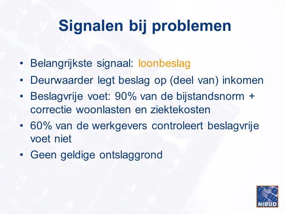 Signalen bij problemen Belangrijkste signaal: loonbeslag Deurwaarder legt beslag op (deel van) inkomen Beslagvrije voet: 90% van de bijstandsnorm + co