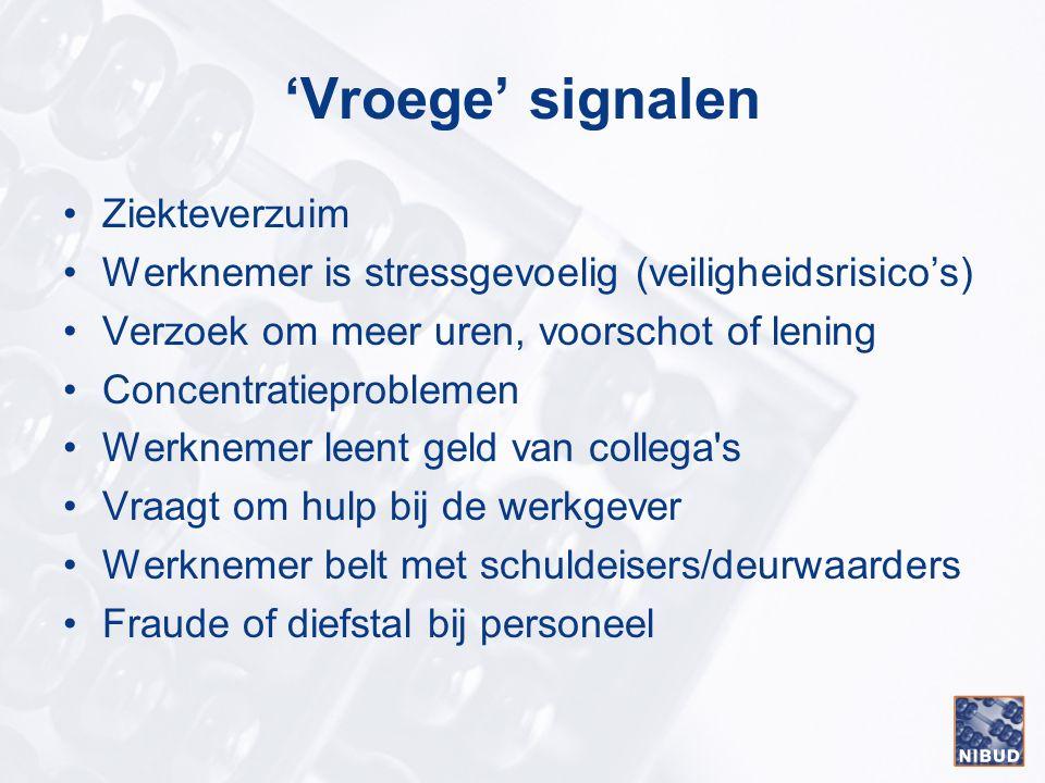 'Vroege' signalen Ziekteverzuim Werknemer is stressgevoelig (veiligheidsrisico's) Verzoek om meer uren, voorschot of lening Concentratieproblemen Werk