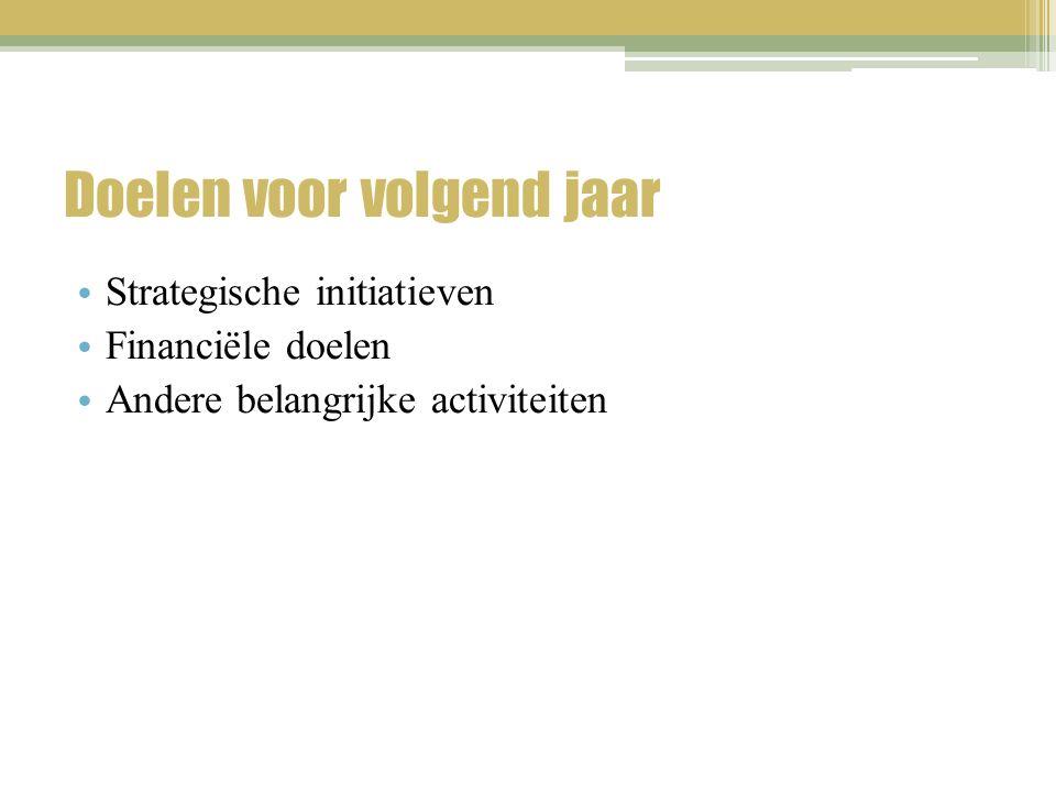 Doelen voor volgend jaar Strategische initiatieven Financiële doelen Andere belangrijke activiteiten