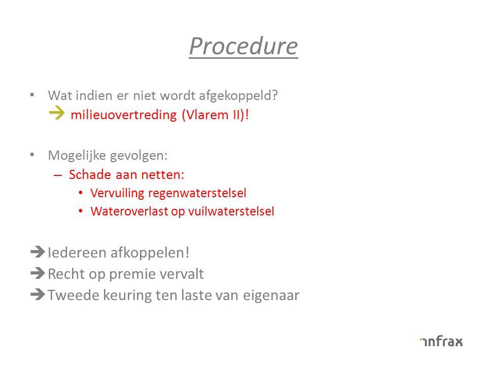 Procedure  Wat indien er niet wordt afgekoppeld?  milieuovertreding (Vlarem II)! Mogelijke gevolgen: – Schade aan netten: Vervuiling regenwaterstels