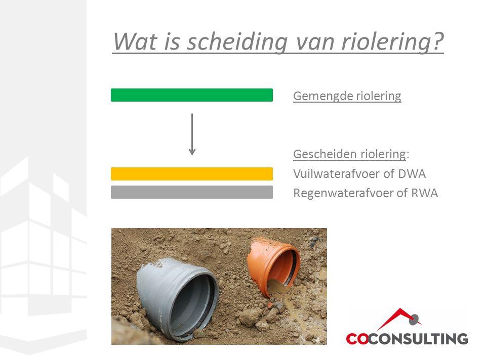 Gemengde riolering Gescheiden riolering: Vuilwaterafvoer of DWA Regenwaterafvoer of RWA Wat is scheiding van riolering?