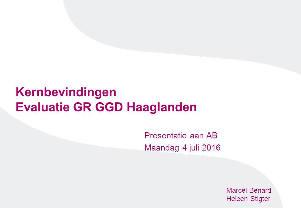 Kernbevindingen Evaluatie GR GGD Haaglanden Presentatie aan AB Maandag 4 juli 2016 Marcel Benard Heleen Stigter