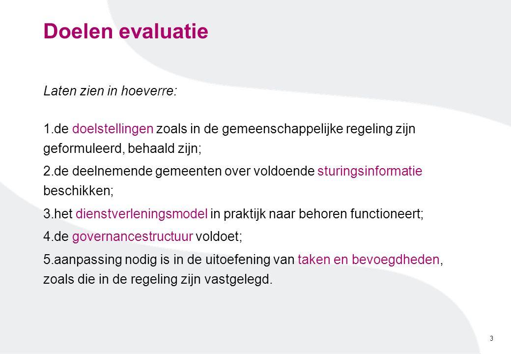Doelen evaluatie Laten zien in hoeverre: 1.de doelstellingen zoals in de gemeenschappelijke regeling zijn geformuleerd, behaald zijn; 2.de deelnemende
