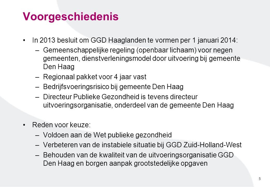 Voorgeschiedenis In 2013 besluit om GGD Haaglanden te vormen per 1 januari 2014: –Gemeenschappelijke regeling (openbaar lichaam) voor negen gemeenten,