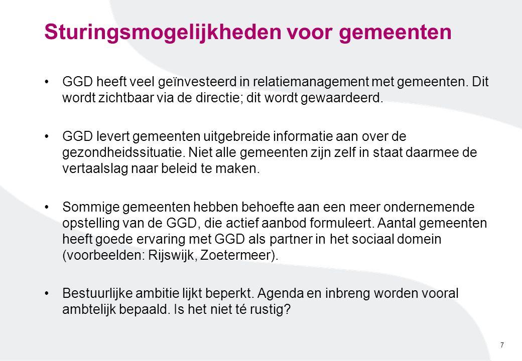 Sturingsmogelijkheden voor gemeenten GGD heeft veel geïnvesteerd in relatiemanagement met gemeenten. Dit wordt zichtbaar via de directie; dit wordt ge