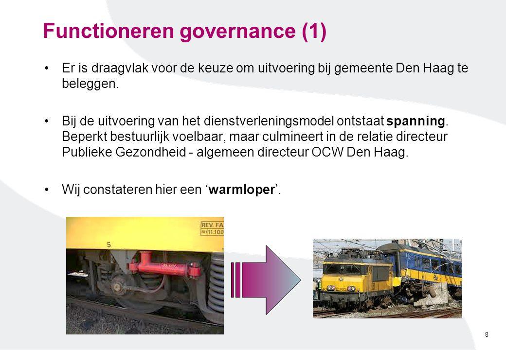 Functioneren governance (1) Er is draagvlak voor de keuze om uitvoering bij gemeente Den Haag te beleggen. Bij de uitvoering van het dienstverleningsm