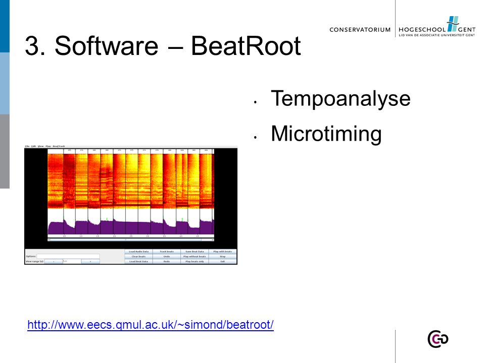 3. Software – BeatRoot Tempoanalyse Microtiming http://www.eecs.qmul.ac.uk/~simond/beatroot/