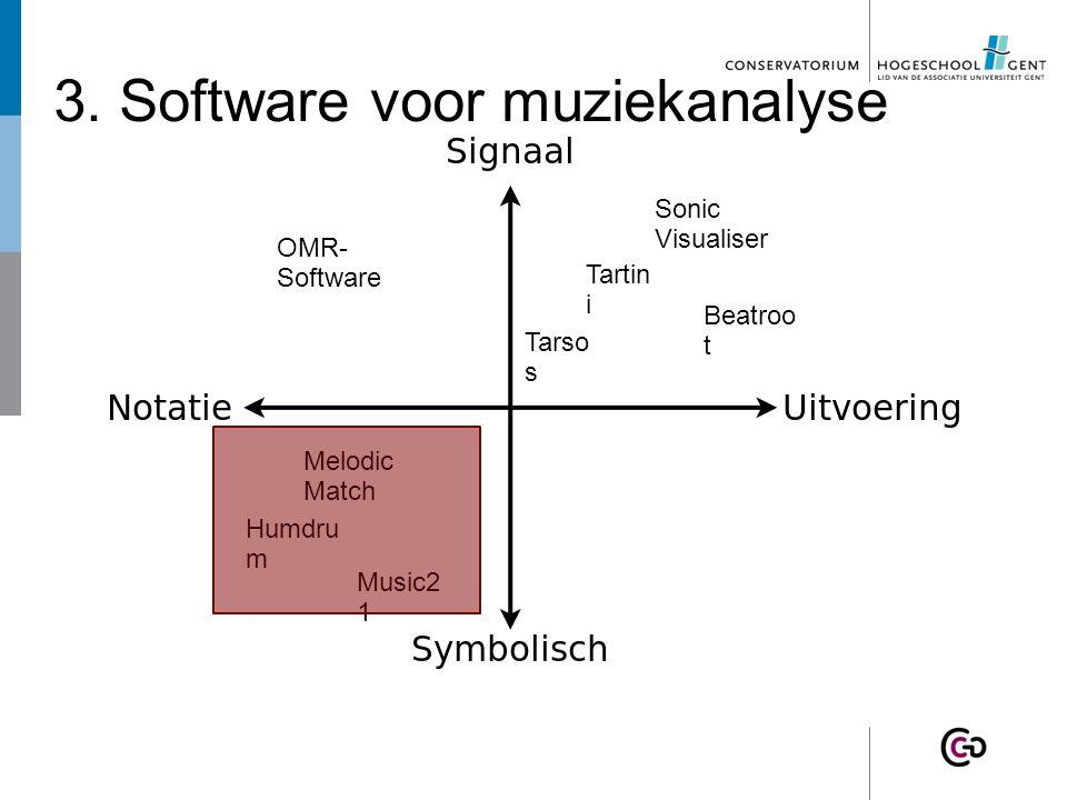 3. Software voor muziekanalyse Tartin i Beatroo t Tarso s Melodic Match OMR- Software Sonic Visualiser Humdru m Music2 1