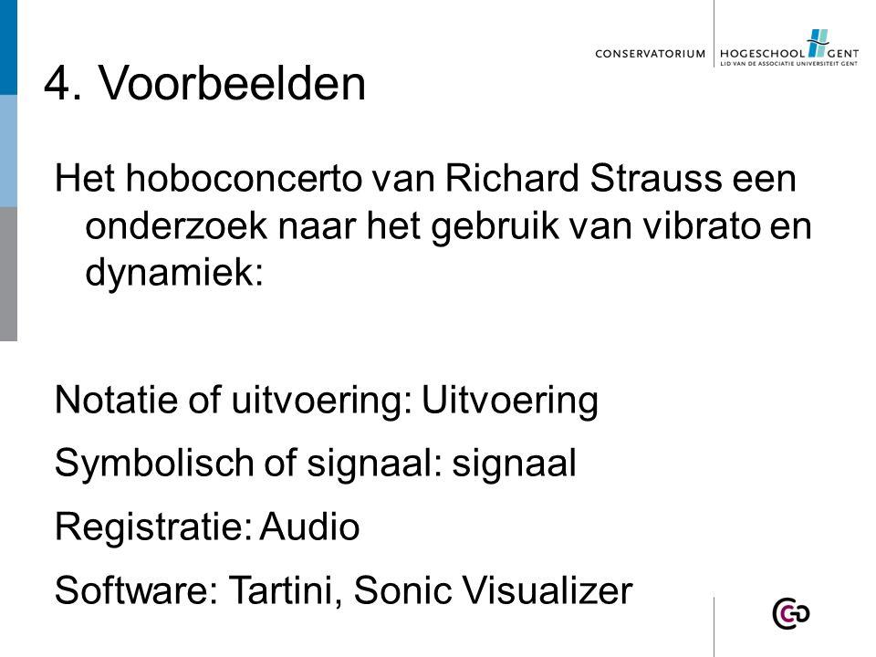 4. Voorbeelden Het hoboconcerto van Richard Strauss een onderzoek naar het gebruik van vibrato en dynamiek: Notatie of uitvoering: Uitvoering Symbolis