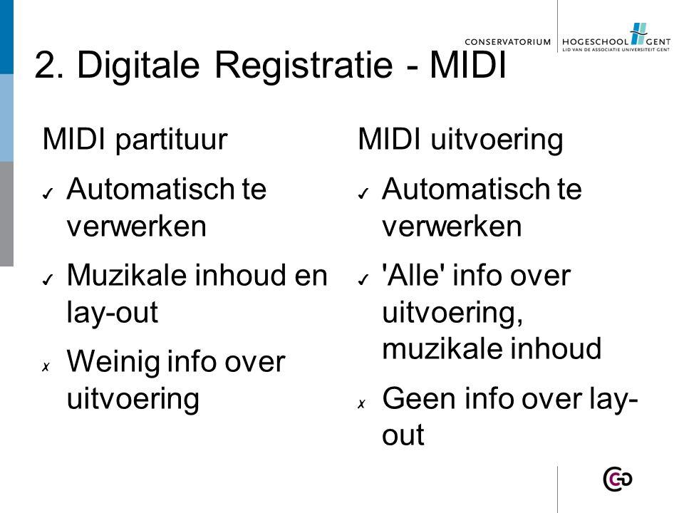 2. Digitale Registratie - MIDI MIDI partituur ✔ Automatisch te verwerken ✔ Muzikale inhoud en lay-out ✗ Weinig info over uitvoering MIDI uitvoering ✔