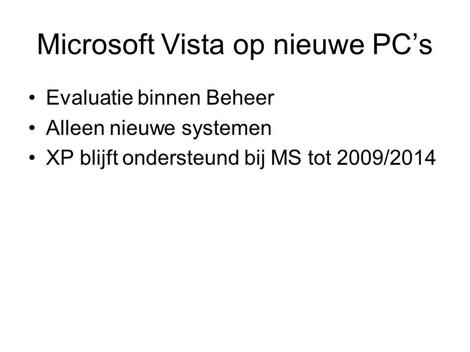 Microsoft Vista op nieuwe PC's Evaluatie binnen Beheer Alleen nieuwe systemen XP blijft ondersteund bij MS tot 2009/2014