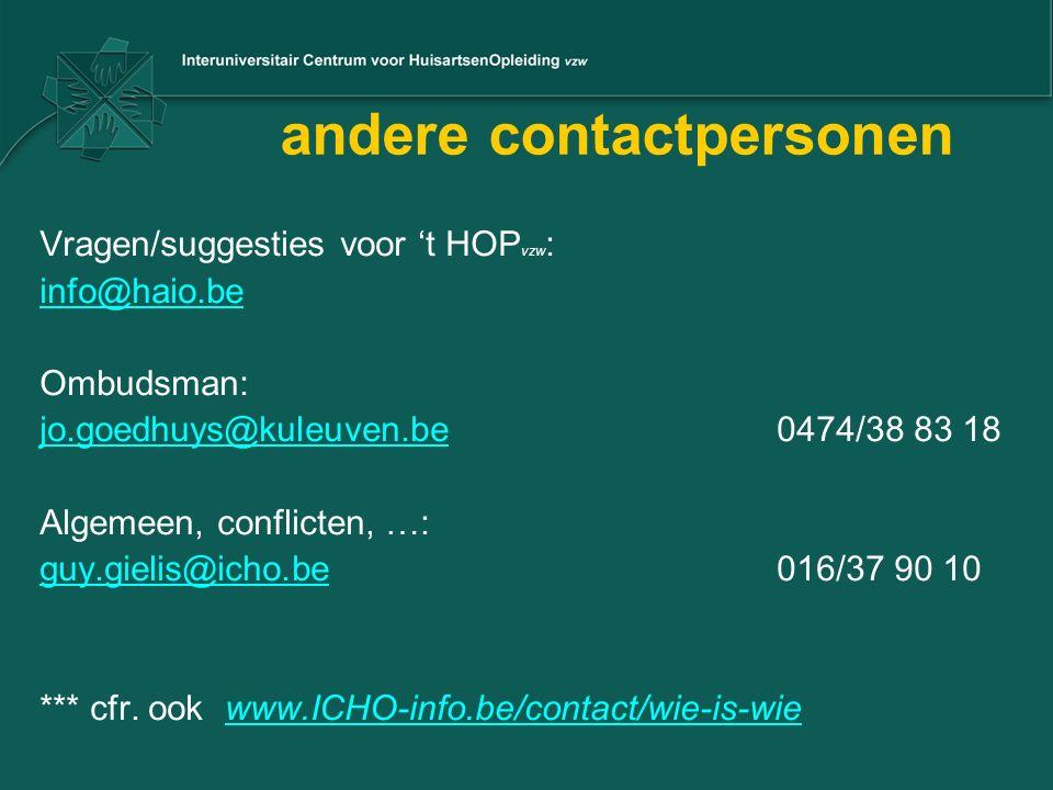 andere contactpersonen Vragen/suggesties voor 't HOP vzw : info@haio.be Ombudsman: jo.goedhuys@kuleuven.bejo.goedhuys@kuleuven.be 0474/38 83 18 Algemeen, conflicten, …: guy.gielis@icho.beguy.gielis@icho.be 016/37 90 10 *** cfr.