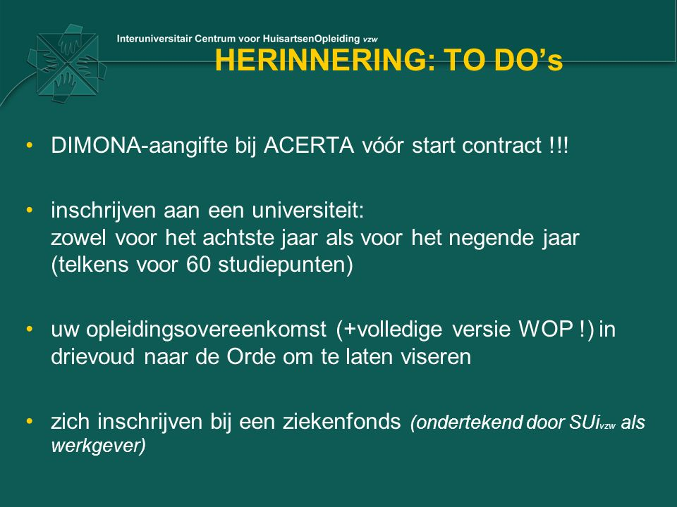 HERINNERING: TO DO's DIMONA-aangifte bij ACERTA vóór start contract !!.