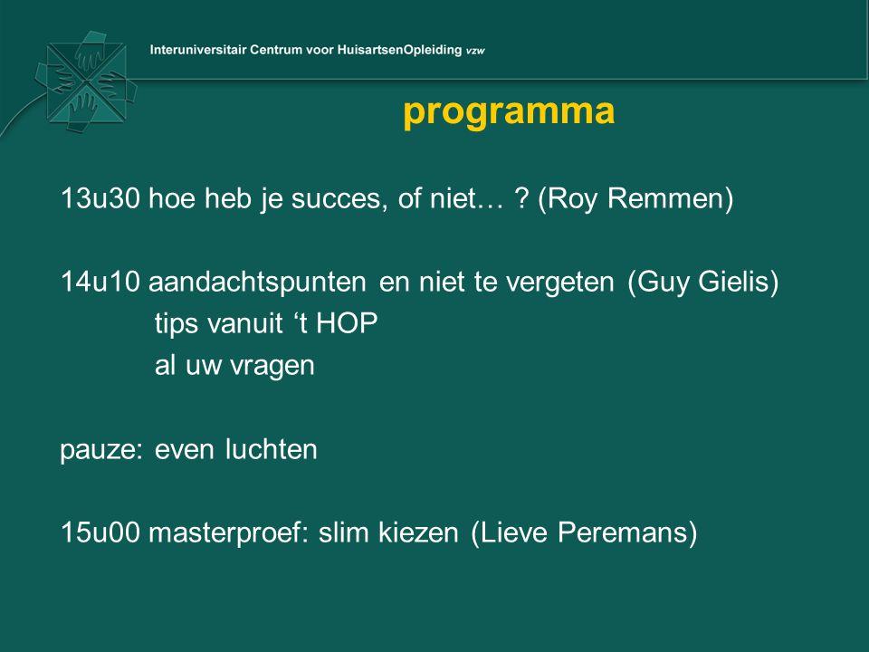 programma 13u30 hoe heb je succes, of niet… ? (Roy Remmen) 14u10 aandachtspunten en niet te vergeten (Guy Gielis) tips vanuit 't HOP al uw vragen pauz