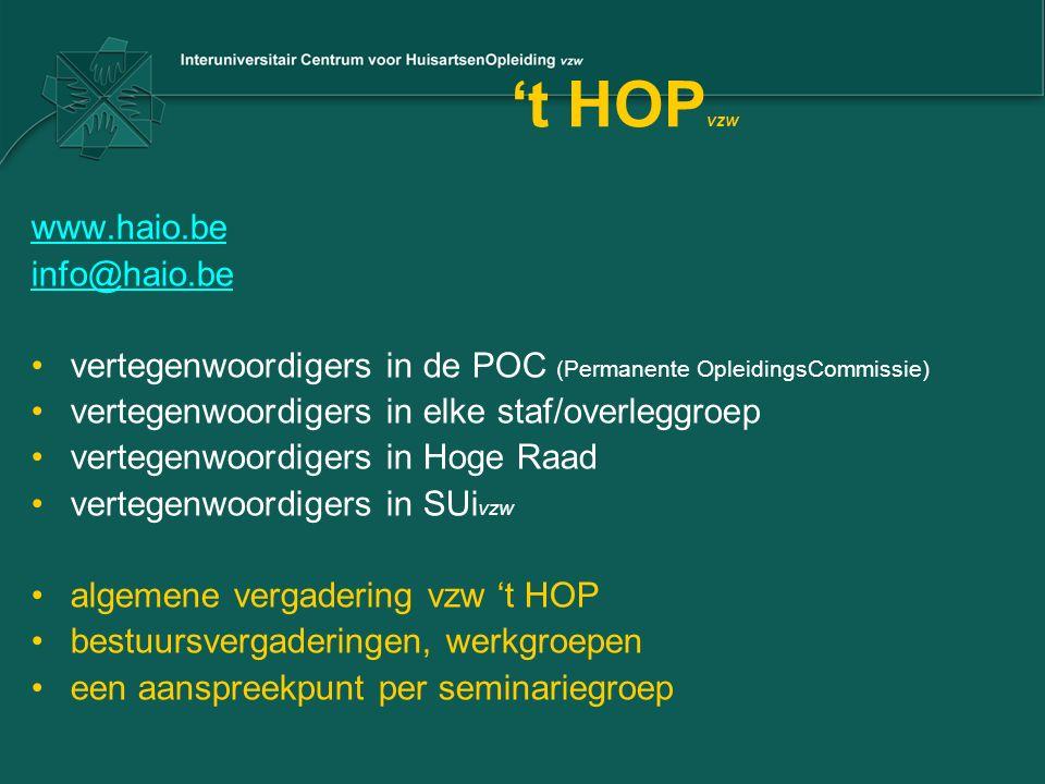 't HOP vzw www.haio.be info@haio.be vertegenwoordigers in de POC (Permanente OpleidingsCommissie) vertegenwoordigers in elke staf/overleggroep vertegenwoordigers in Hoge Raad vertegenwoordigers in SUi vzw algemene vergadering vzw 't HOP bestuursvergaderingen, werkgroepen een aanspreekpunt per seminariegroep