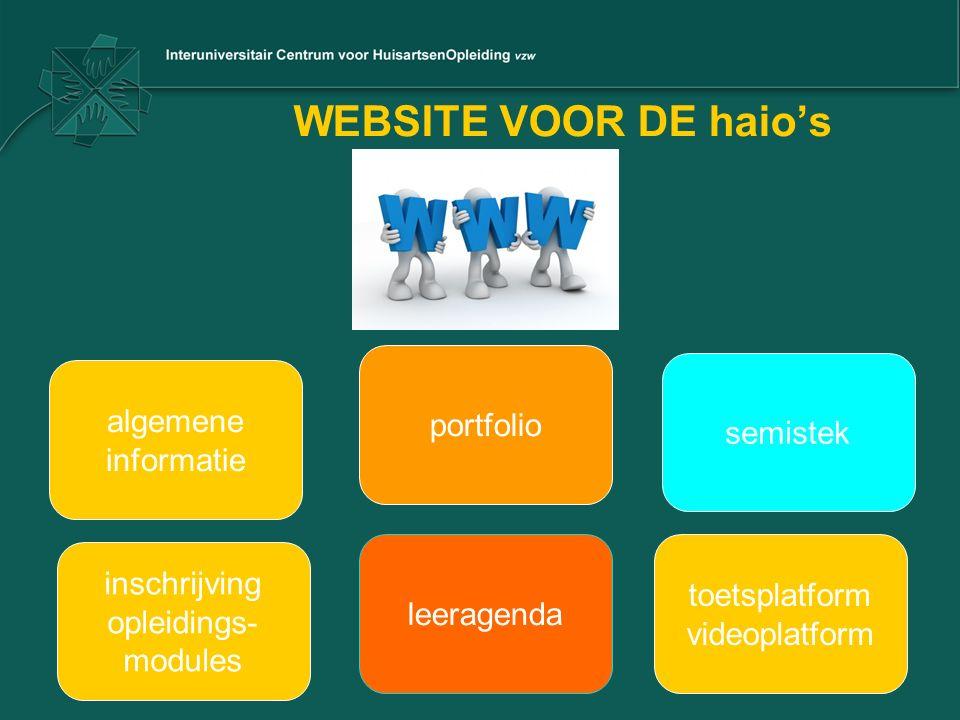 WEBSITE VOOR DE haio's algemene informatie portfolio semistek inschrijving opleidings- modules leeragenda toetsplatform videoplatform
