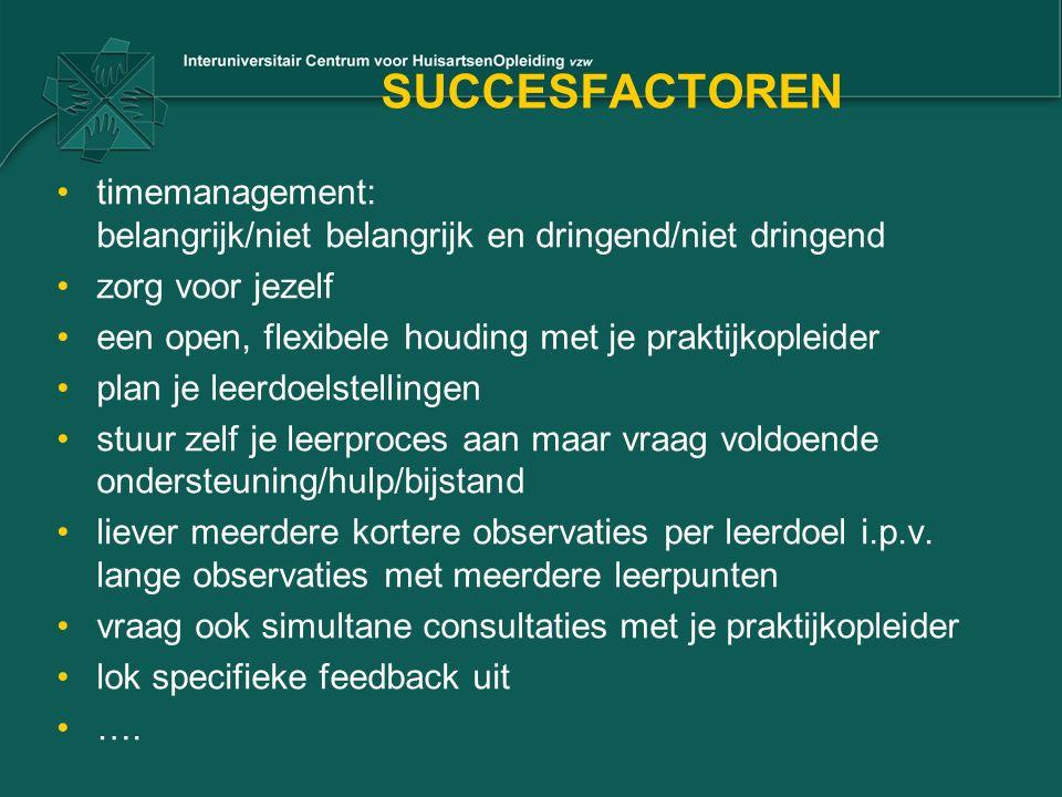 SUCCESFACTOREN timemanagement: belangrijk/niet belangrijk en dringend/niet dringend zorg voor jezelf een open, flexibele houding met je praktijkopleid