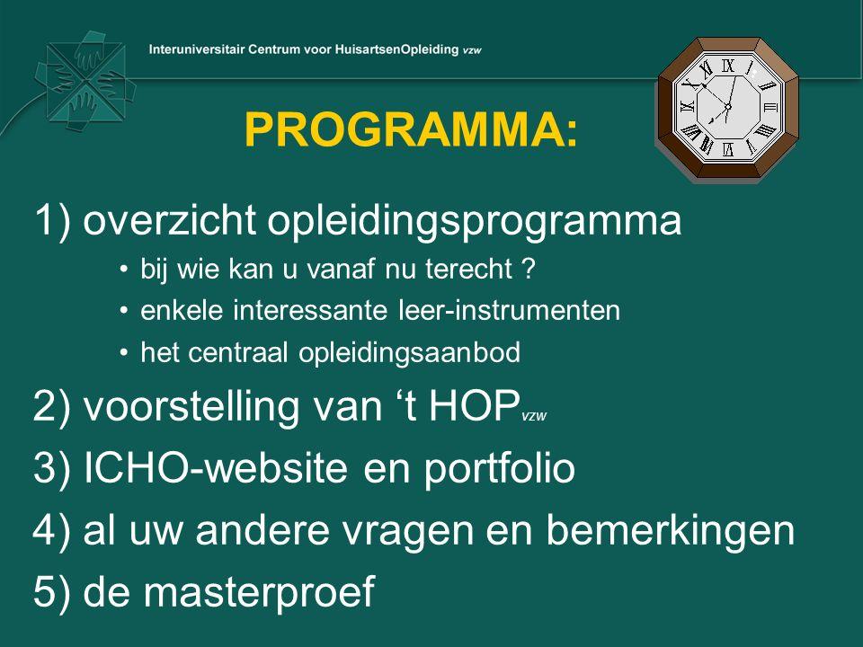 PROGRAMMA: 1) overzicht opleidingsprogramma bij wie kan u vanaf nu terecht .
