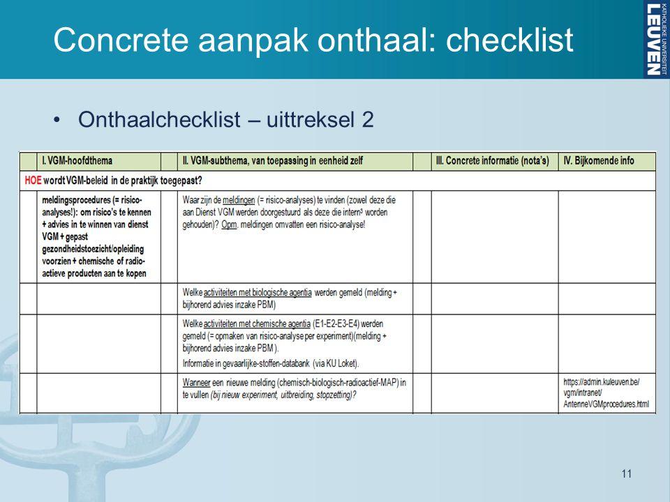 11 Concrete aanpak onthaal: checklist Onthaalchecklist – uittreksel 2