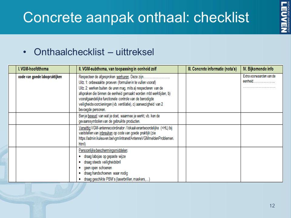 12 Concrete aanpak onthaal: checklist Onthaalchecklist – uittreksel