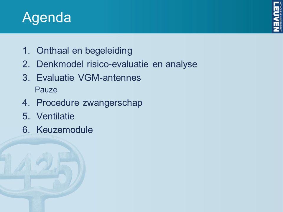 Agenda 1.Onthaal en begeleiding 2.Denkmodel risico-evaluatie en analyse 3.Evaluatie VGM-antennes Pauze 4.Procedure zwangerschap 5.Ventilatie 6.Keuzemo