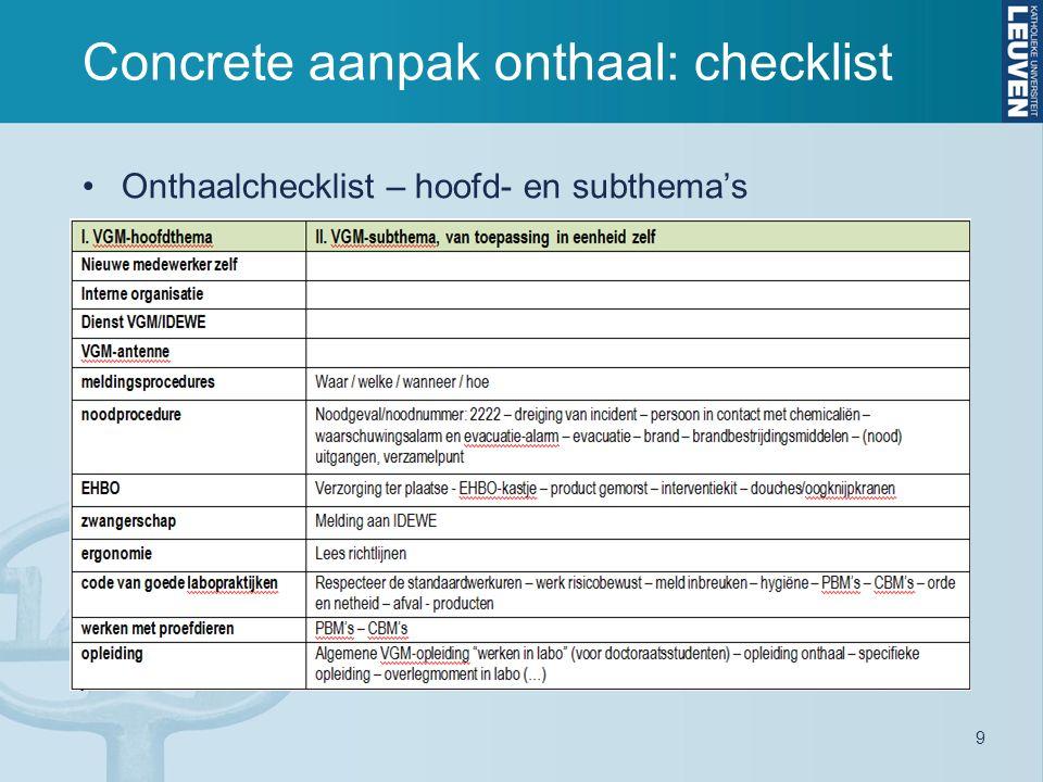 9 Concrete aanpak onthaal: checklist Onthaalchecklist – hoofd- en subthema's
