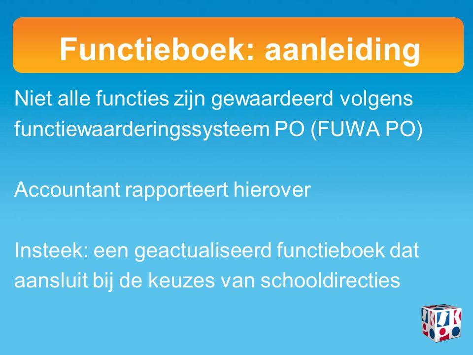 Niet alle functies zijn gewaardeerd volgens functiewaarderingssysteem PO (FUWA PO) Accountant rapporteert hierover Insteek: een geactualiseerd functieboek dat aansluit bij de keuzes van schooldirecties Functieboek: aanleiding