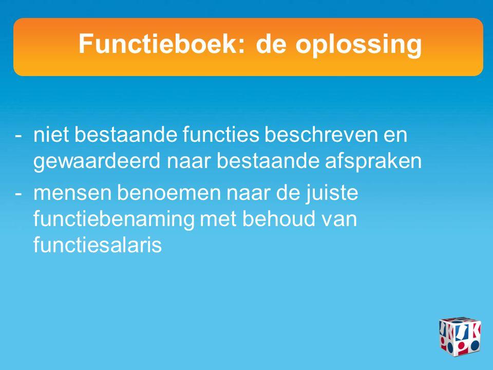 -niet bestaande functies beschreven en gewaardeerd naar bestaande afspraken -mensen benoemen naar de juiste functiebenaming met behoud van functiesalaris Functieboek: de oplossing
