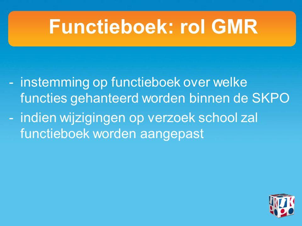 -instemming op functieboek over welke functies gehanteerd worden binnen de SKPO -indien wijzigingen op verzoek school zal functieboek worden aangepast Functieboek: rol GMR