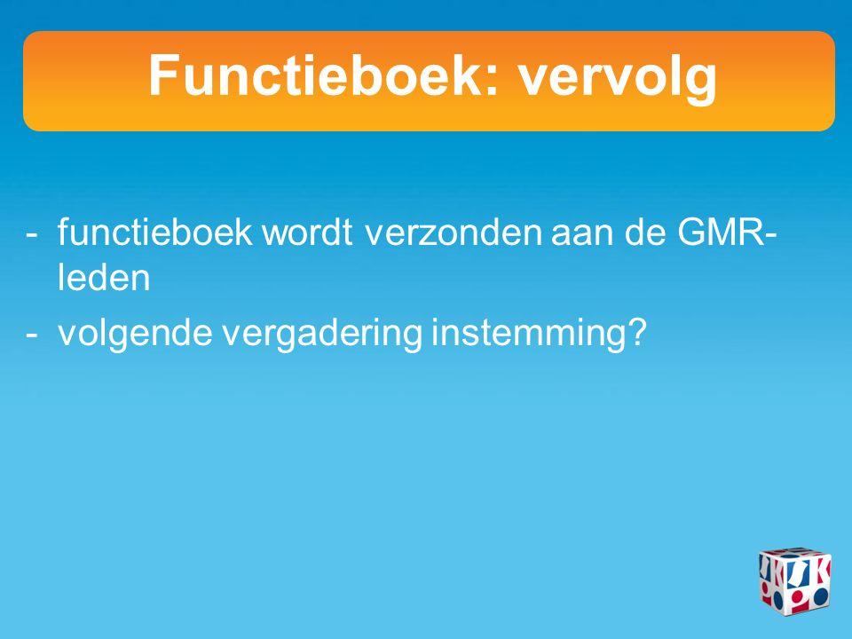-functieboek wordt verzonden aan de GMR- leden -volgende vergadering instemming.