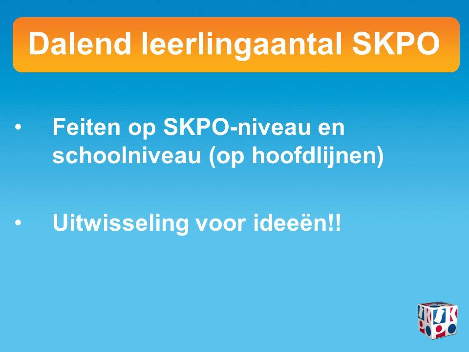 Feiten op SKPO-niveau en schoolniveau (op hoofdlijnen) Uitwisseling voor ideeën!.