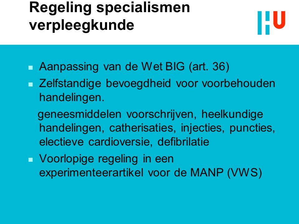 Regeling specialismen verpleegkunde n Aanpassing van de Wet BIG (art. 36) n Zelfstandige bevoegdheid voor voorbehouden handelingen. geneesmiddelen voo