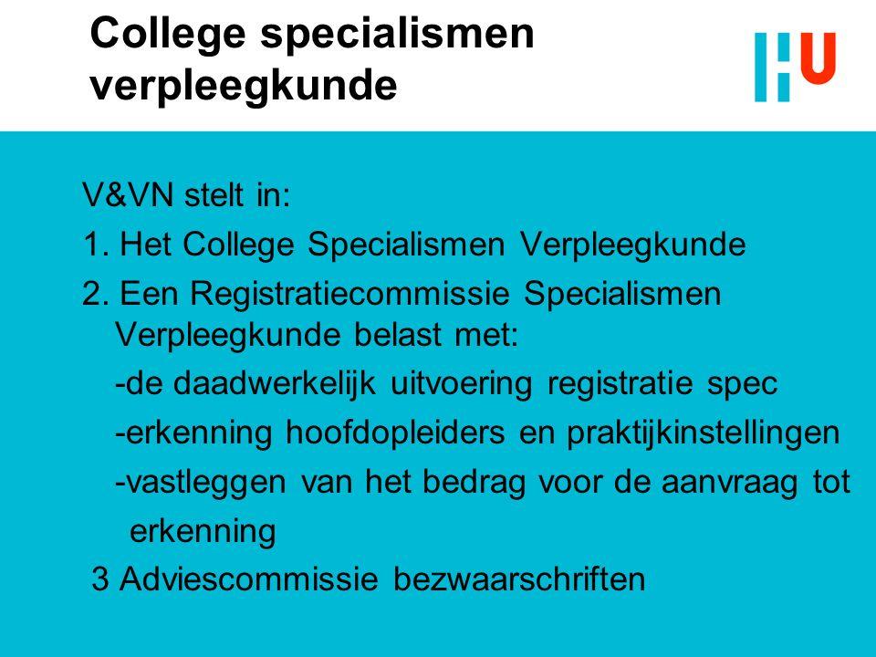 College specialismen verpleegkunde V&VN stelt in: 1. Het College Specialismen Verpleegkunde 2. Een Registratiecommissie Specialismen Verpleegkunde bel