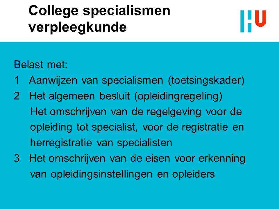 College specialismen verpleegkunde Belast met: 1 Aanwijzen van specialismen (toetsingskader) 2 Het algemeen besluit (opleidingregeling) Het omschrijve