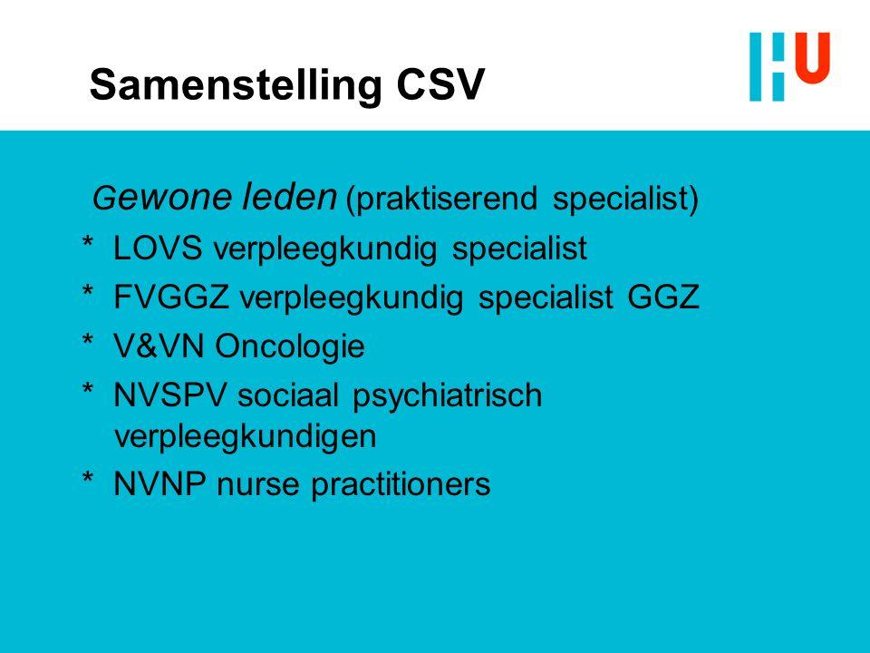 Samenstelling CSV G ewone leden (praktiserend specialist) * LOVS verpleegkundig specialist * FVGGZ verpleegkundig specialist GGZ * V&VN Oncologie * NVSPV sociaal psychiatrisch verpleegkundigen * NVNP nurse practitioners