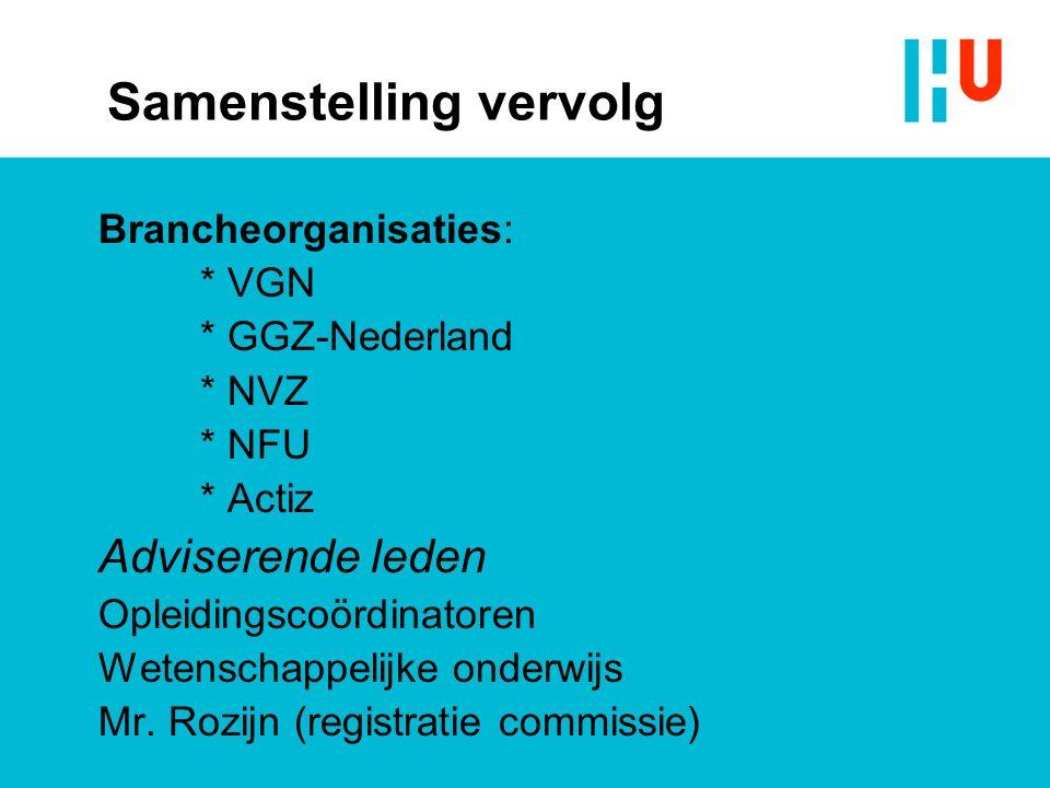 Samenstelling vervolg Brancheorganisaties: * VGN * GGZ-Nederland * NVZ * NFU * Actiz Adviserende leden Opleidingscoördinatoren Wetenschappelijke onderwijs Mr.