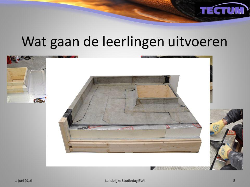 Het nieuwe lesmateriaal biedt het volgende aan: 1.Algemene theorie over dakdekken 2.Praktijkopdracht dakbedekking aanbrengen 1 juni 2016Landelijke Studiedag BWI6