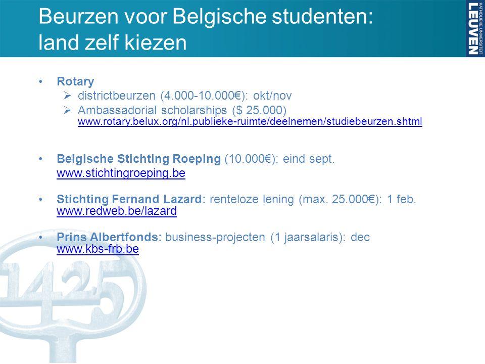 Beurzen voor Belgische studenten: land zelf kiezen Rotary  districtbeurzen (4.000-10.000€): okt/nov  Ambassadorial scholarships ($ 25.000) www.rotary.belux.org/nl.publieke-ruimte/deelnemen/studiebeurzen.shtml www.rotary.belux.org/nl.publieke-ruimte/deelnemen/studiebeurzen.shtml Belgische Stichting Roeping (10.000€): eind sept.