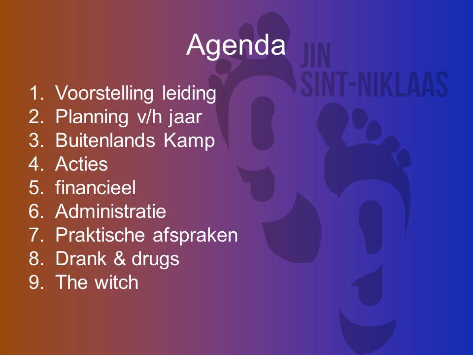 Agenda 1.Voorstelling leiding 2.Planning v/h jaar 3.Buitenlands Kamp 4.Acties 5.financieel 6.Administratie 7.Praktische afspraken 8.Drank & drugs 9.The witch