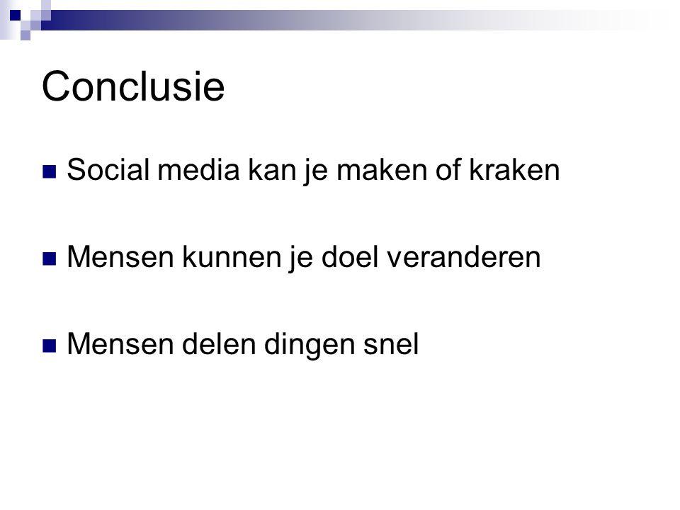 Conclusie Social media kan je maken of kraken Mensen kunnen je doel veranderen Mensen delen dingen snel