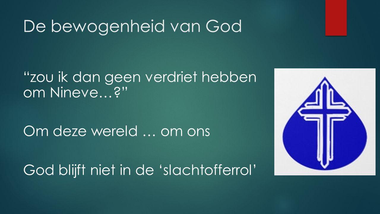 De bewogenheid van God zou ik dan geen verdriet hebben om Nineve… Om deze wereld … om ons God blijft niet in de 'slachtofferrol'