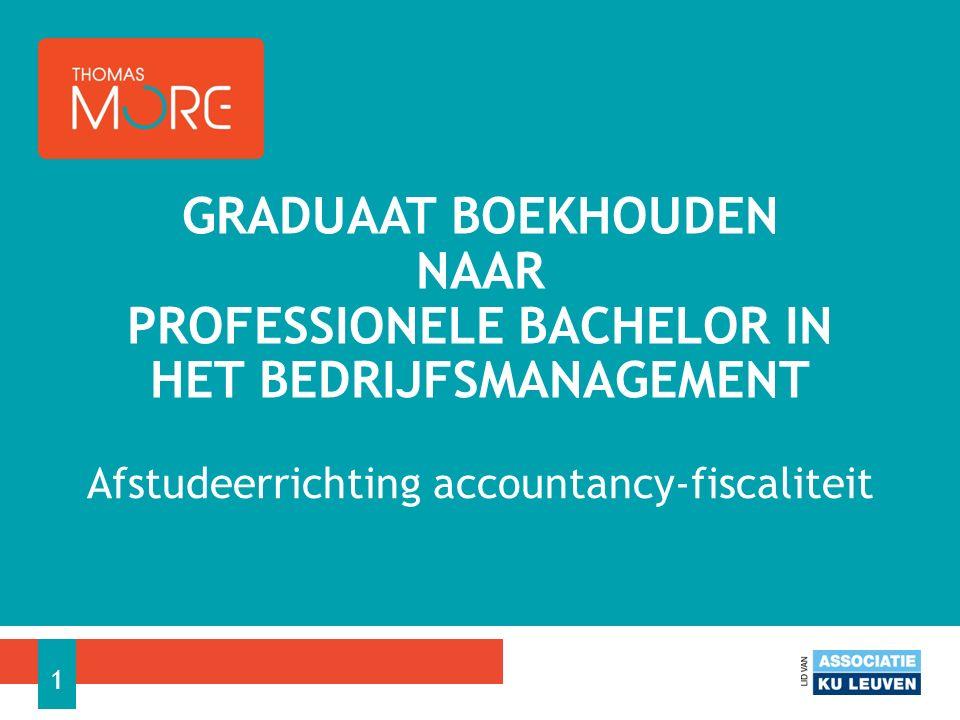 Afstudeerrichting accountancy-fiscaliteit GRADUAAT BOEKHOUDEN NAAR PROFESSIONELE BACHELOR IN HET BEDRIJFSMANAGEMENT 1