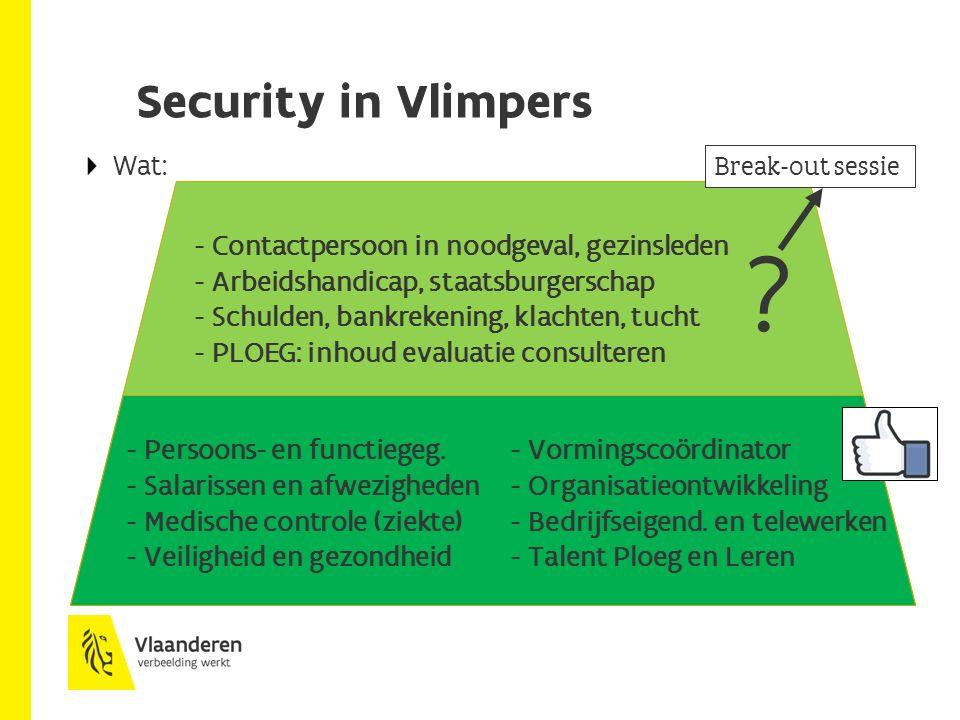 Security in Vlimpers - Persoons- en functiegeg.- Vormingscoördinator - Salarissen en afwezigheden - Organisatieontwikkeling - Medische controle (ziekte)- Bedrijfseigend.