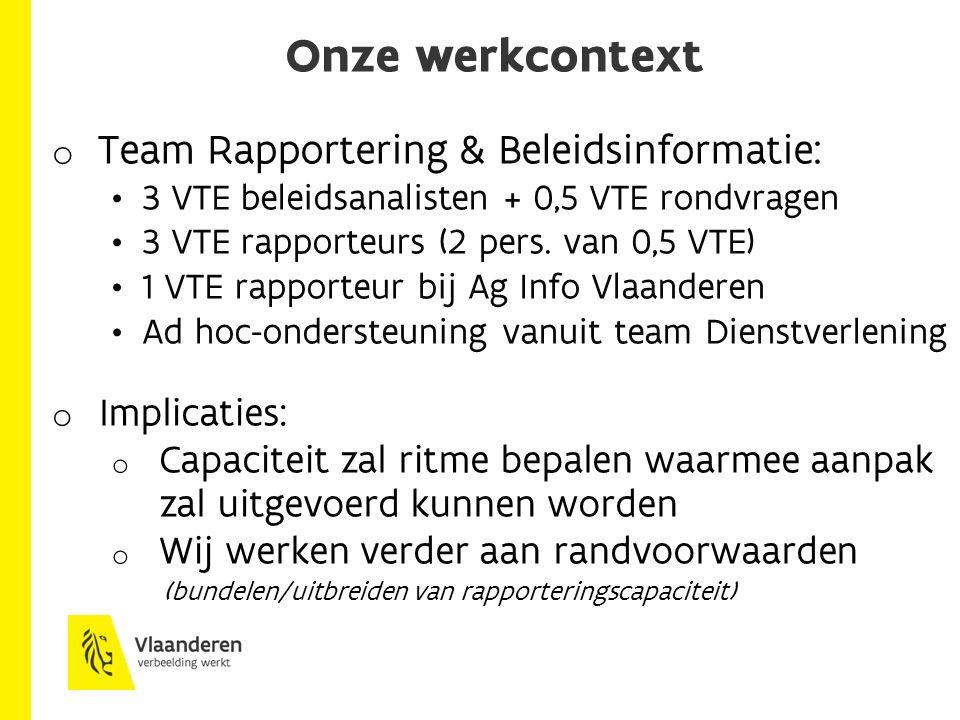 Onze werkcontext o Team Rapportering & Beleidsinformatie: 3 VTE beleidsanalisten + 0,5 VTE rondvragen 3 VTE rapporteurs (2 pers.