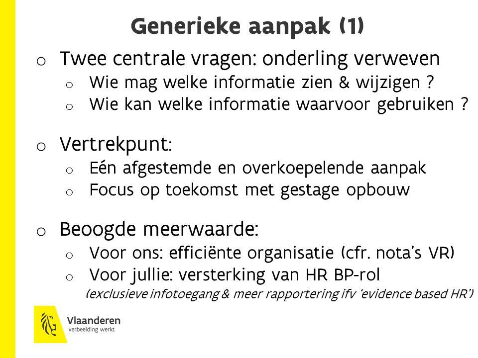 Generieke aanpak (1) o Twee centrale vragen: onderling verweven o Wie mag welke informatie zien & wijzigen .