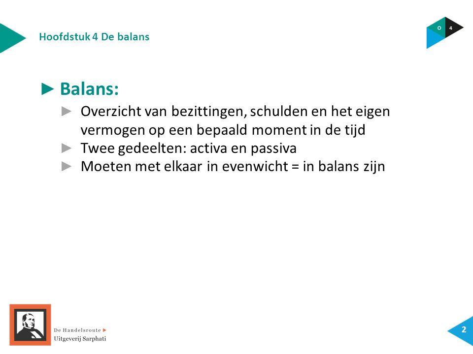 Hoofdstuk 4 De balans 2 ► Balans: ► Overzicht van bezittingen, schulden en het eigen vermogen op een bepaald moment in de tijd ► Twee gedeelten: activa en passiva ► Moeten met elkaar in evenwicht = in balans zijn