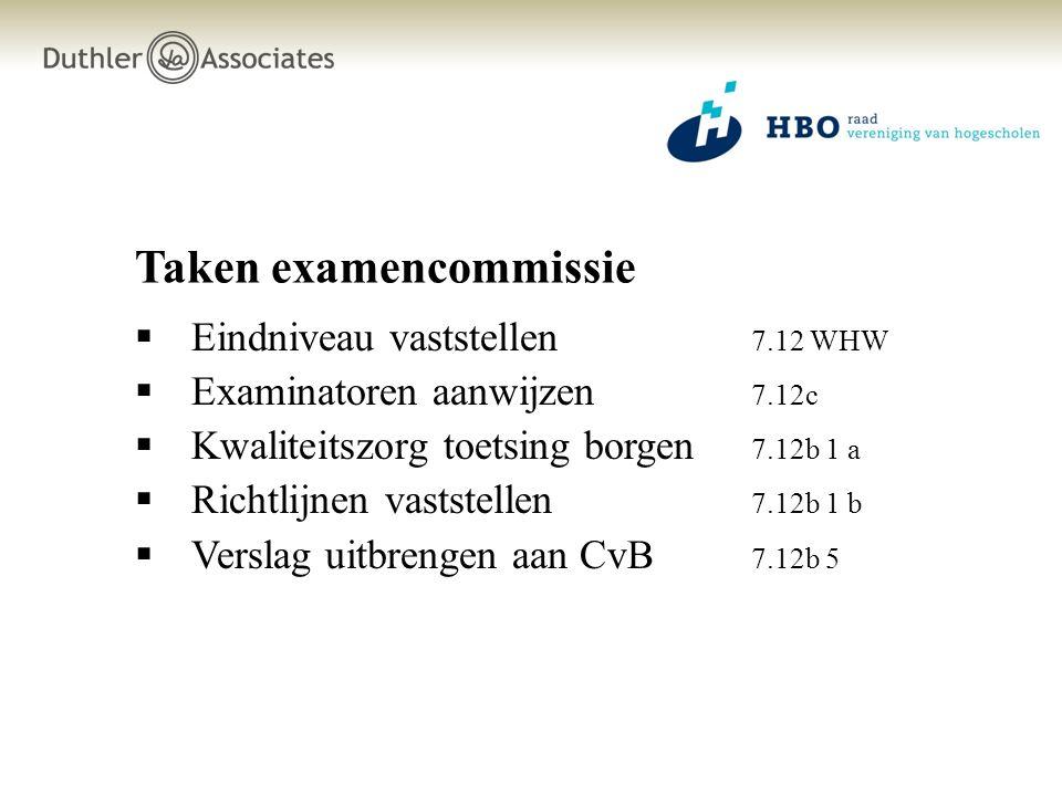 Taken examencommissie  Eindniveau vaststellen 7.12 WHW  Examinatoren aanwijzen 7.12c  Kwaliteitszorg toetsing borgen 7.12b 1 a  Richtlijnen vaststellen 7.12b 1 b  Verslag uitbrengen aan CvB 7.12b 5