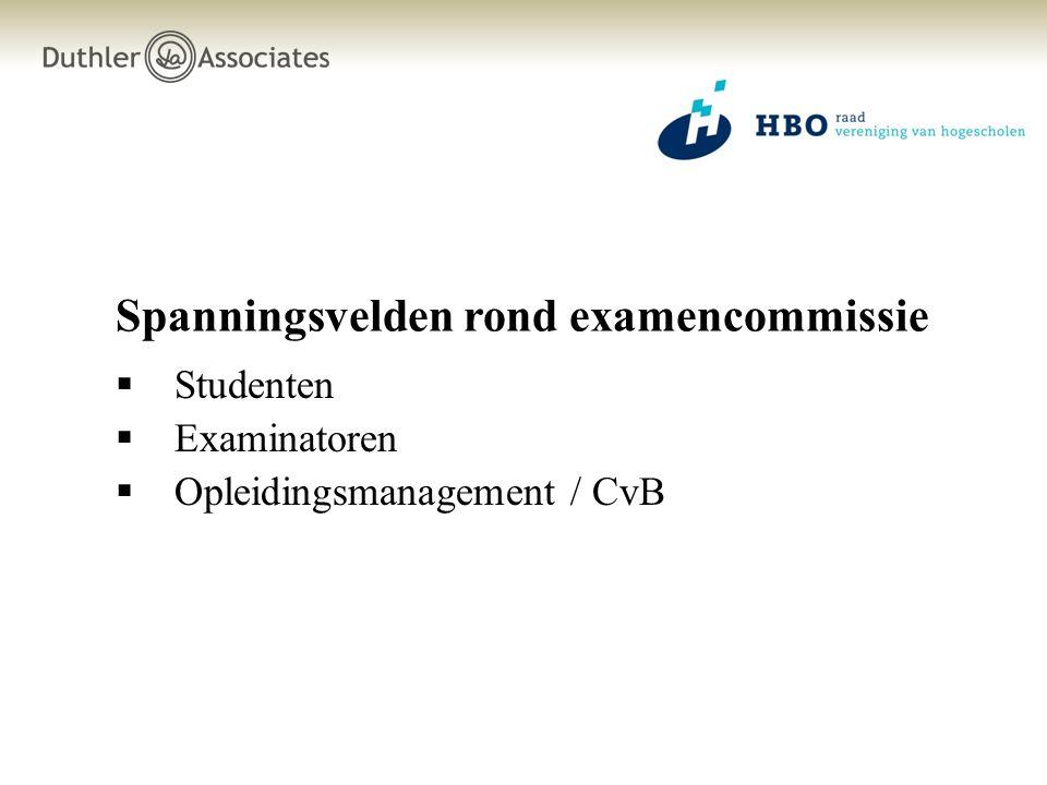 Spanningsvelden rond examencommissie  Studenten  Examinatoren  Opleidingsmanagement / CvB